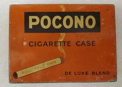 Vintage Pocono Cigarette Case Tobacco Tin - Roll Your Own De Luxe Blend