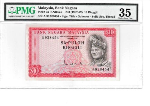 MALAYSIA 10 RINGGIT SA-PULOH FIRST SERIES PICK #3a PMG VERY FINE GABENOR A/39