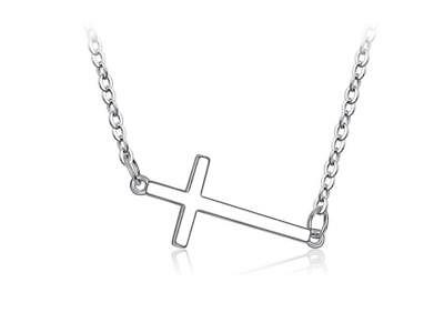 925 Sterling Silver SP Faith Sideways Cross Pendant Chain Necklace Faith Pendant Necklace