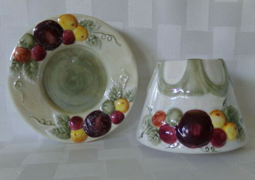 2 Piece Small Yankee Candle Sugar Plums Candle Topper & Plate Fruit Iridescent