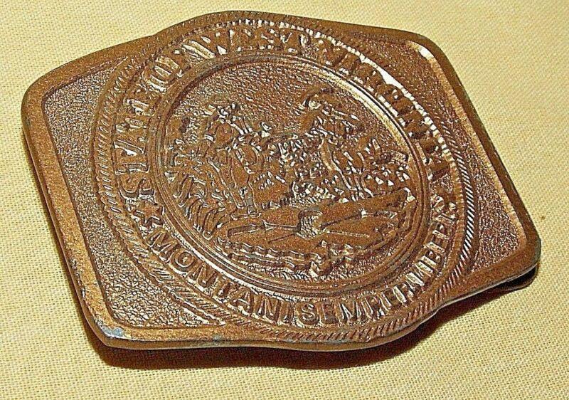 WEST VIRGINIA BELT BUCKLE ELDON 1ST EDITION 1983 JUN 1863 MONTANI SEMPER LIBERI*