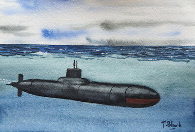 ORIGINAL AQUARELL - U-Boot der Typhoon Klasse.