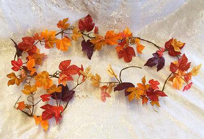 Maple Leaf Garland Fall Vine Mantle Table Runner Silk Autumn Leaves Artificial
