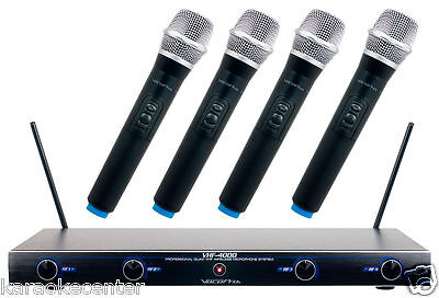 Vocopro Professional 4 Channel Quad VHF Wireless Microphone System VHF4000 4 Channel Vhf Wireless Microphone