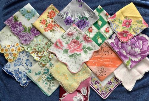 16 Ladies FLORAL Hankies Handkerchief Vintage Lot Roses Daisies Tulips