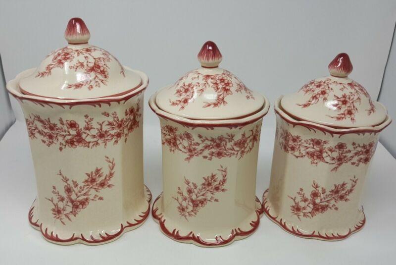 Cracker Barrel Cherry Blossoms 3 Red Kitchen Canister Set w/ lids RARE!