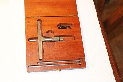Lufkin No. 515 0-3 Depth Gauge Micrometer Set In Original Wood Case Made Usa