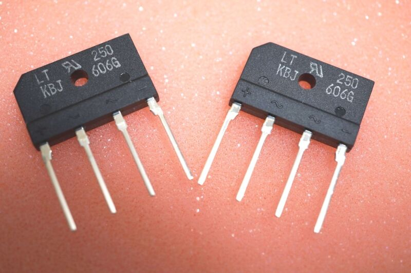 Lot of 2 - Liteon Semi Bridge rectifier KBJ-606G KBU-606 600V 6A KBJ606G