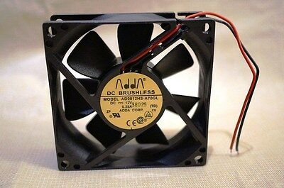 ADDA 12V DC brushless 80mm x 80 mm x 25mm fan quiet power supply AD0812HS-A70GL
