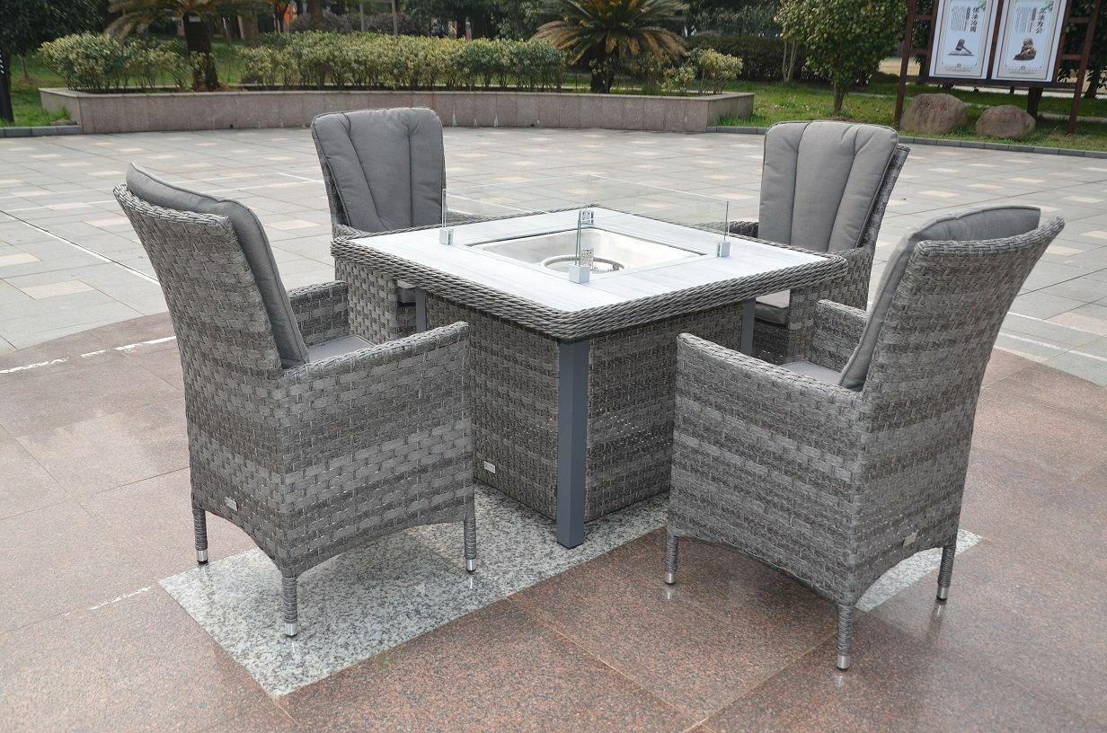 Picture of: Alfresco Serena Atlanta 4 Seat Set Chairs Gas Fire Pit Dining Table Ebay
