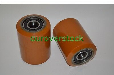 A Pair Of Brand New Pallet Jack Poly Load Wheels With Bearings 3.25d X 4.50w