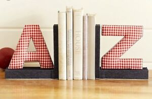 A - Z Gingham Bookends / Pottery Barn Kids