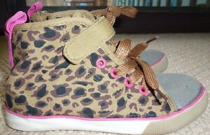 NWT Wave Zone Girls Leopard Print Canvas High Tops Sneakers Shoes Size 13
