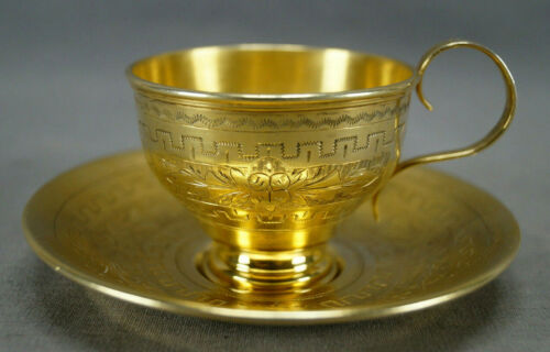 Pyotr Abrosimov Moscow Russian Gold Washed Silver Demitasse Cup & Saucer C.1887
