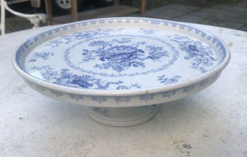 ANTIQUE ENGLISH IRONSTONE CHINA BLUE TRANSFERWARE NANKIN JAR PEDESTAL COMPOTE