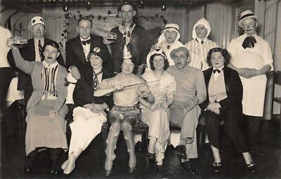 RPPC HAMBURG AMERIKA SHIP LINE HALLOWEEN COSTUMES REAL PHOTO POSTCARD (c. 1930s)