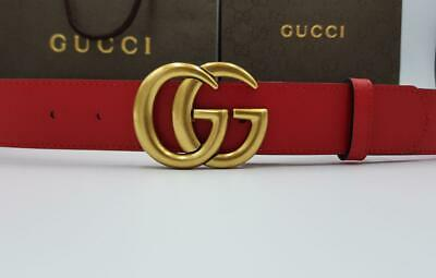 Gucci red signature belt with golden tone buckle