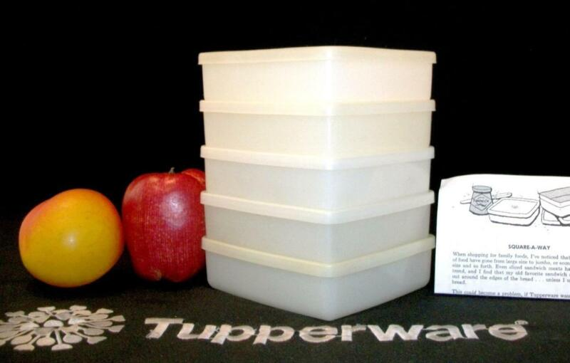 Tupperware 5 WHITE Sandwich Square A Way Keepers ~School Lunchbox Work Picnic