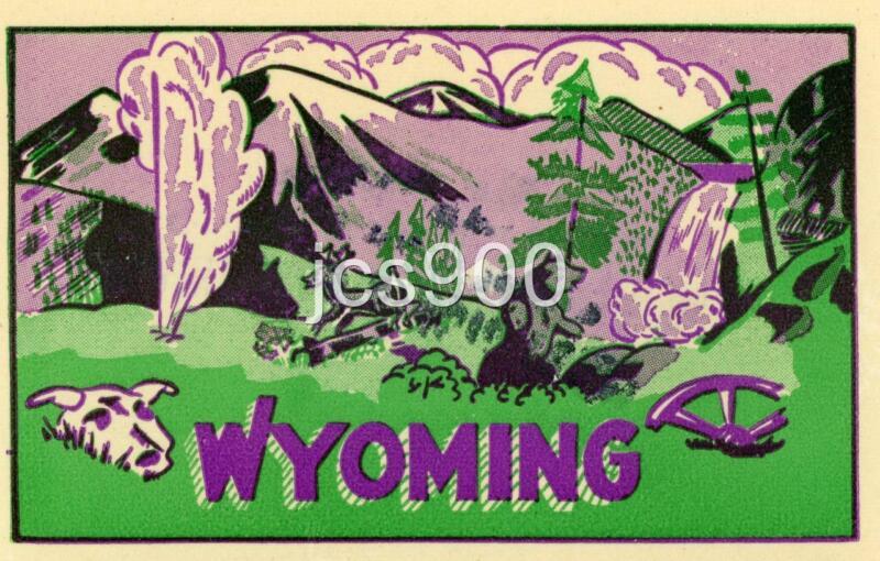 VINTAGE WYOMING STATE SOUVENIR TRAVEL DECAL GUMMED LABEL ORIGINAL 1950s RARE ART