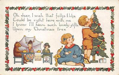 - CHRISTMAS HOLIDAY TREE TEDDY BEAR TOYS CHINA CHILDREN EMBOSSED POSTCARD (c.1910)