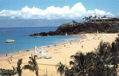 Kaanapali Beach, Maui, Hawaii (MAUI, HI Hawaii   KAANAPALI BEACH VIEW   Beachgoers~Sailboats   Chrome Postcard)