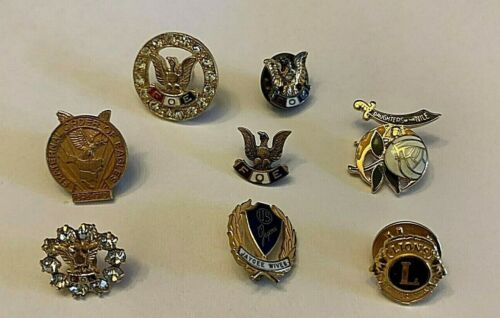 FOE Fraternal Order of Eagles Lapel Pins LOT Lions Jaycee Wives Shriners LOT