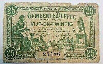 =>> 25 cents centiemen Duffel Anvers Antwerpen 1917 biljet Banknote #F4# <<==