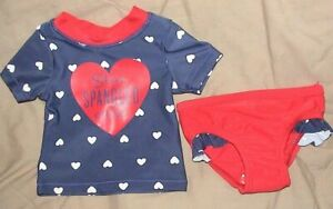 365c6aa511e9b STAR SPANGLED CUTIE-BLUE & RED SWIMSUIT-CARTERS-SIZE 3 MONTHS-NWT