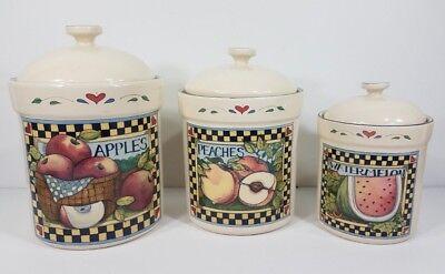 Set of 3 Susan Winget Certified International fruit theme ceramic canisters lids