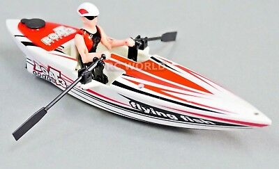 Remote Control RC ROW PADDLE BOAT Canoe RC Crew Boat - RED - 2.4GHz