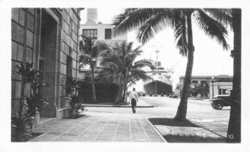 1940 Ship at dock, Honolulu Hawaii photo