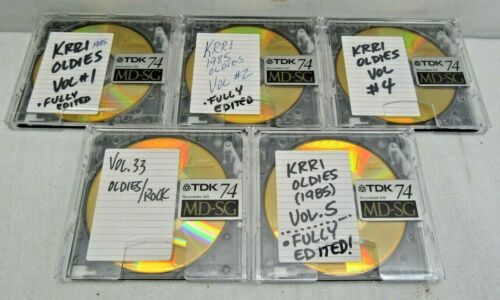 Lot of 5 Used Blanks TDK MD-SG 74 MiniDiscs Recordable MD Gold Cases Oldies