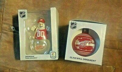 NEW! VTG NHL Detroit red Wings 2 holiday ornaments decorations Light up Snowman