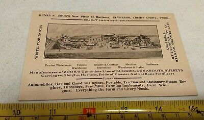 Vtg 1904-05 Henry S. Zook Elverson PA Buggies Carriages Advertising Trade Card