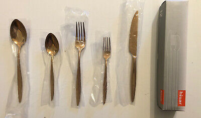 Set of Hisar 5 Piece 18/10 Stainless Steel Flatware Set, Titanium Bronze Mercury