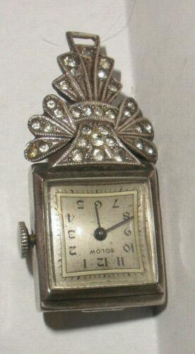 Vintage Solow Nurse art deco sterling silver pendant ladies watch running