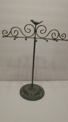 Shabby Chic Bent Metal Jewelry Holder with a Bird