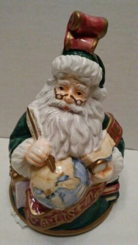 Santa with a World Globe Merry Christmas Bell