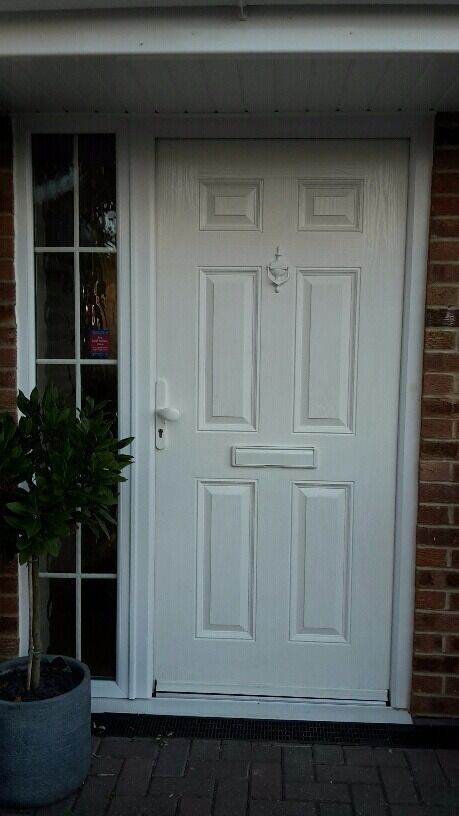 Extra wide composite front door with upvc georgian side Extra wide front doors