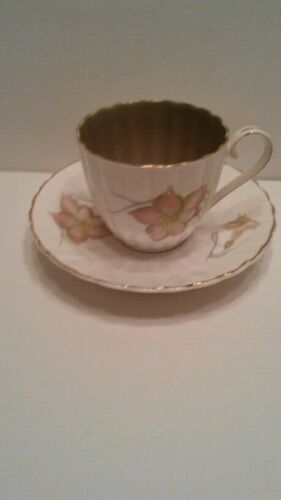 Susie Cooper  Fluted Cup and Saucer with Olive Green Inside