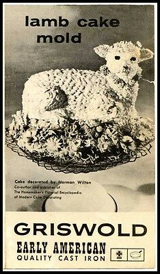 Griswold Easter Lamb Cake Cast Iron Mold 866 Owner's Manual - Reproduction -