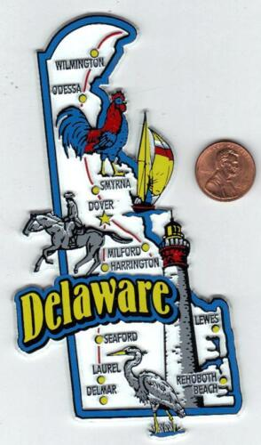 DELAWARE STATE MAP JUMBO MAGNET  NEW    6 COLOR  WILMINGTON  DOVER