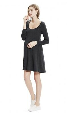 Hatch Maternity Women's THE LONG SLEEVE A-LINE DRESS Charcoal Size 3 (LRG/12)NEW