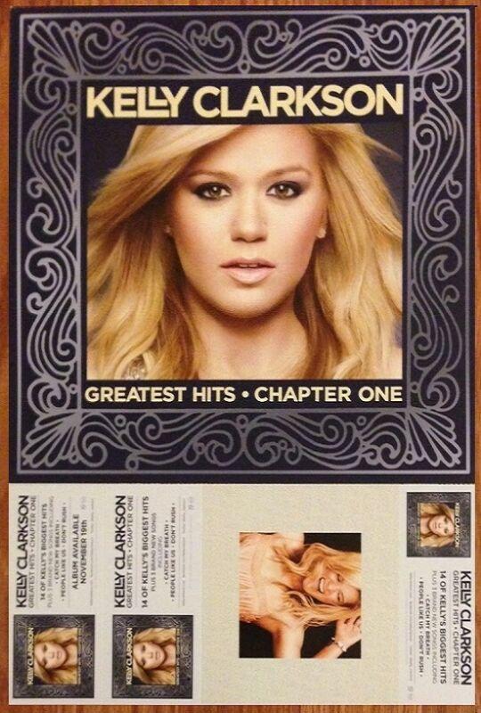 KELLY CLARKSON Greatest Hits Ltd Ed New RARE Tour Poster +BONUS Pop Rock Poster!