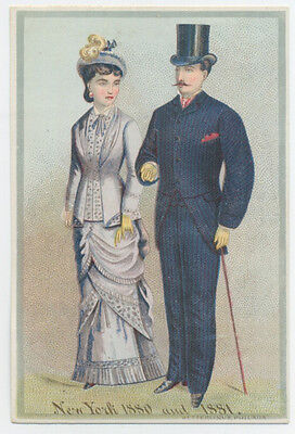 New York fashion trade card - shows styles of 1880 & 1881; Jessup clothier