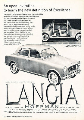 1959 Lancia Appia Series III - Open - Classic Vintage Advertisement Ad D188