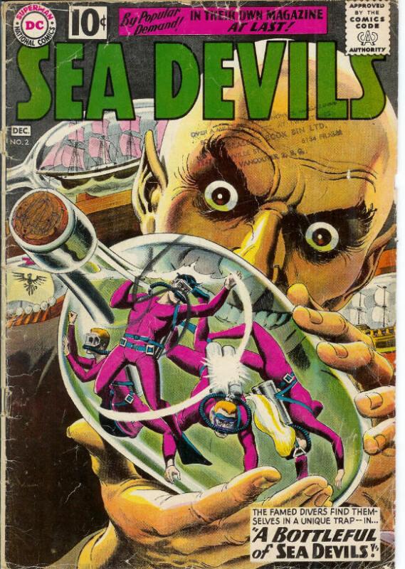 Sea Devils 2 Scarce Graytone Cover 1961 DC 10-cent Comic Book Sci-Fi Superheroes
