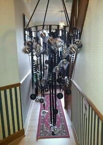 Large Xmas Christmas Ceiling Chandelier Hanging Decoration Black & Silver Balls