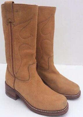 FRYE Women's Light Brown Genuine Suede Leather Boots Footwear 7 B Brown Suede Leather Footwear