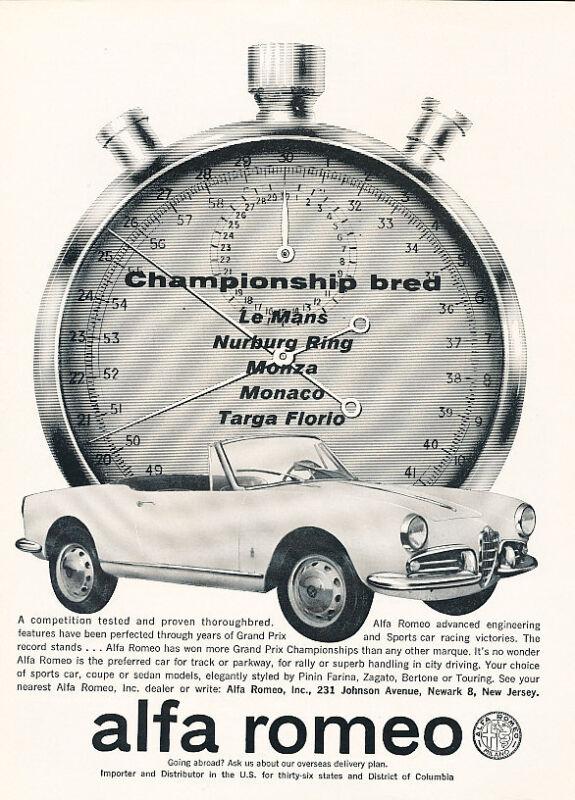 1962 Alfa Romeo Giulietta Spider race Classic Vintage Advertisement Print Ad H05